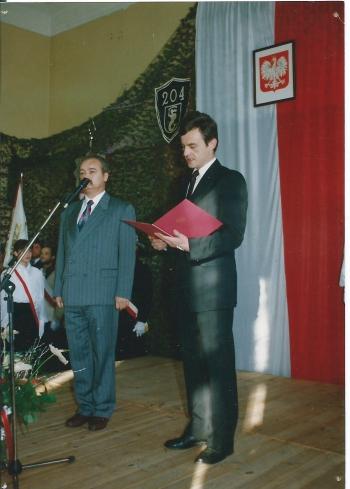 Wystąpienia okolicznościowe. W momencie nadania imienia SP 204 jej Dyrektorem był Pan Henryk Potapowicz