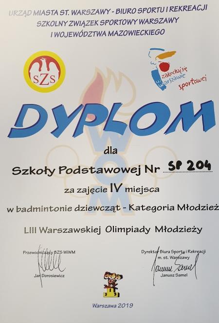 Badmintonistki SP 204 IV w Mistrzostwach Warszawy Szkół Podstawowych!!!