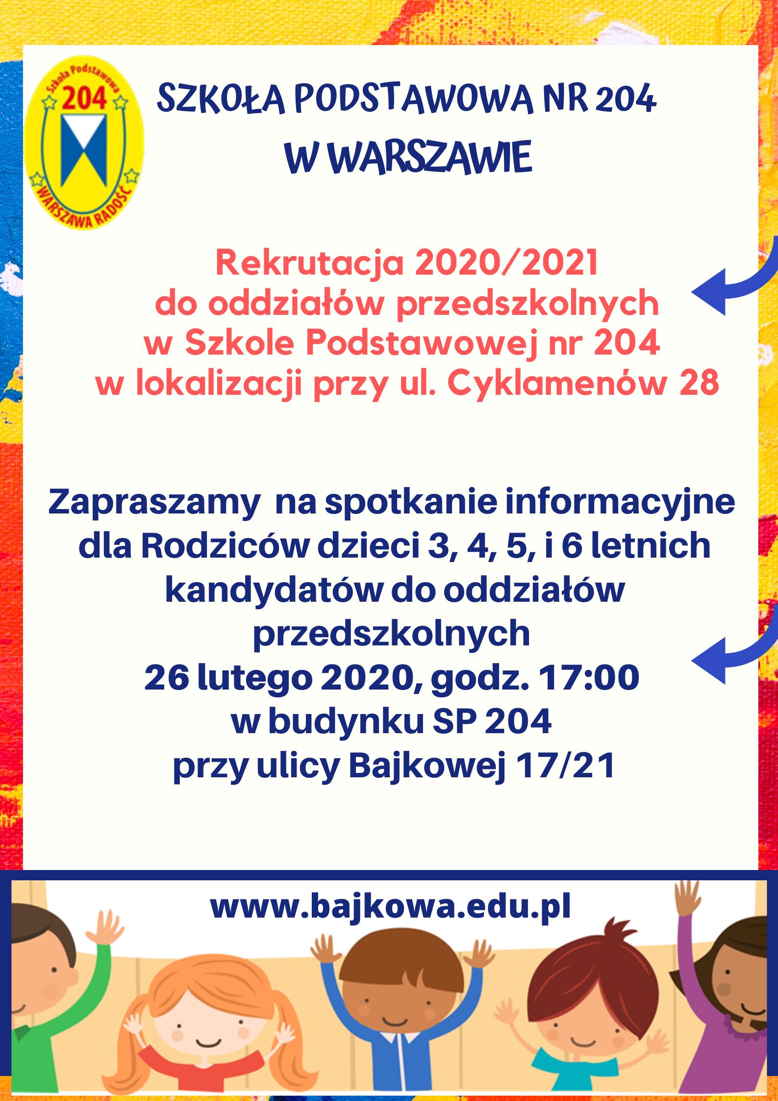 Oddziały przedszkolne w II lokalizacji przy ul. Cyklamenów 28