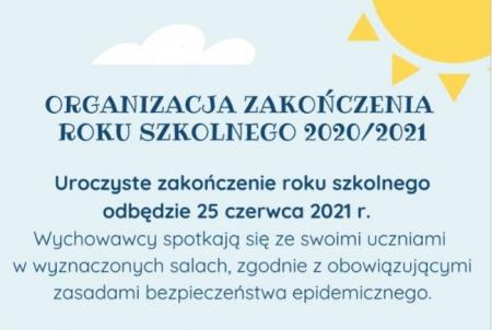 Uroczyste zakończenie roku szkolnego 2020/2021